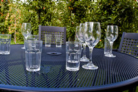 Wine and water glasses on the table.